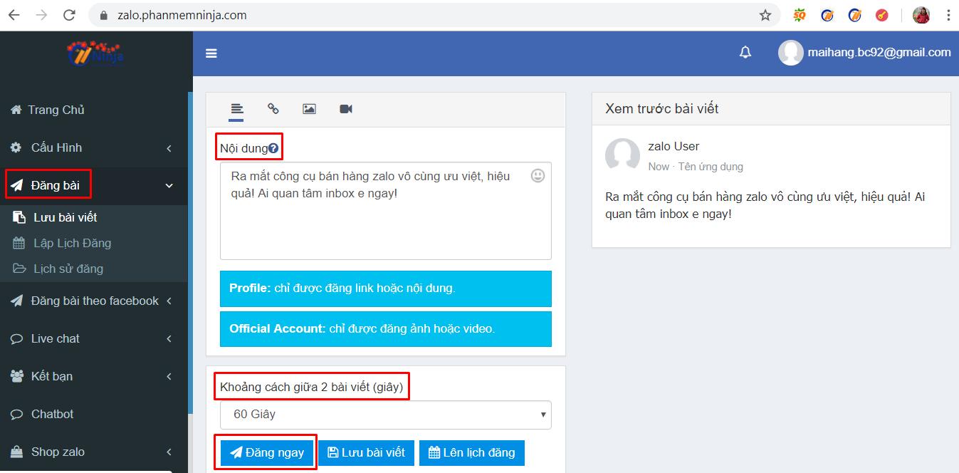 dang bai zalo tu dong Hướng dẫn đăng bài lên zalo tự động bằng phần mềm auto zalo Ninja Zalo