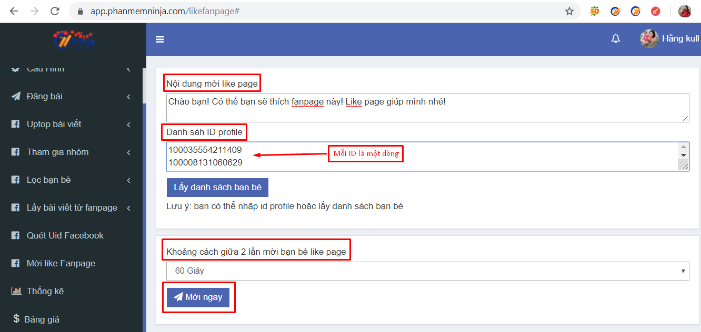 moi like fanpage1 Các bước mời like fanpage hàng loạt bằng ID Profile với Ninja Auto Post