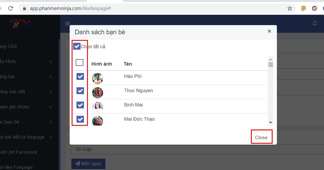 moi like fanpage2 Các bước mời like fanpage hàng loạt bằng ID Profile với Ninja Auto Post