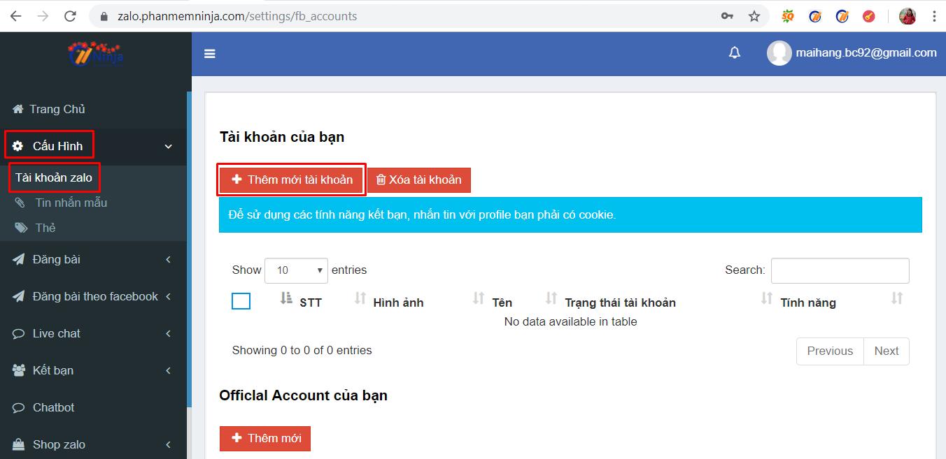 nhap tai khoan zalo1 Cách nhập tài khoản vào phần mềm bán hàng zalo Ninja Zalo