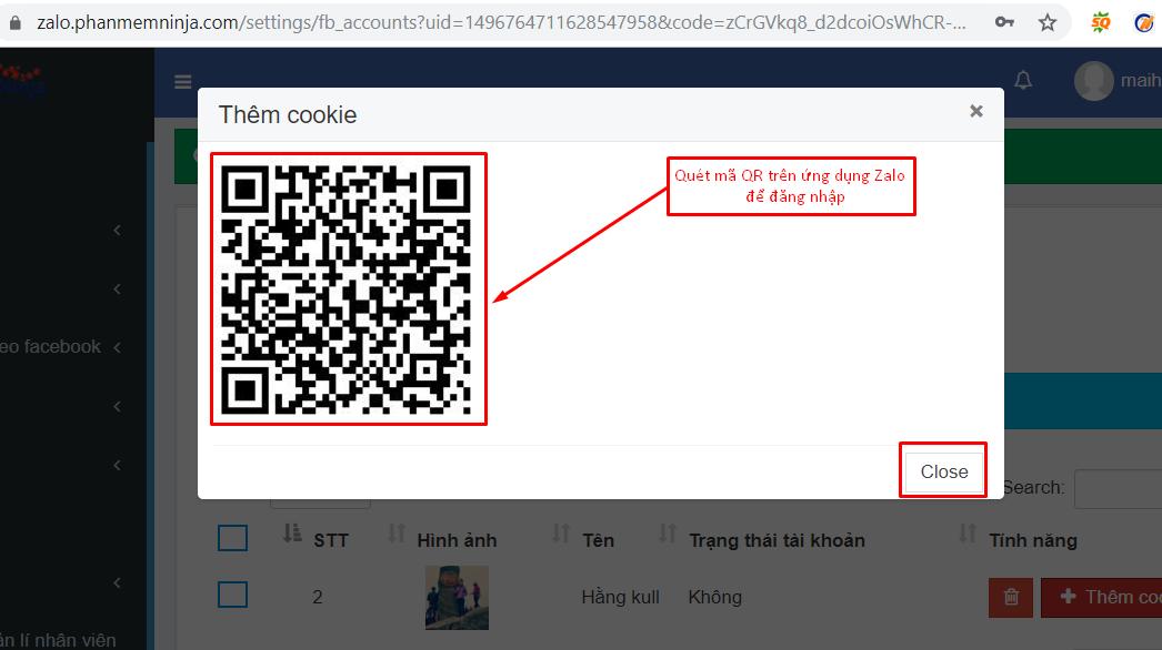 nhap tai khoan zalo5 Cách nhập tài khoản vào phần mềm bán hàng zalo Ninja Zalo