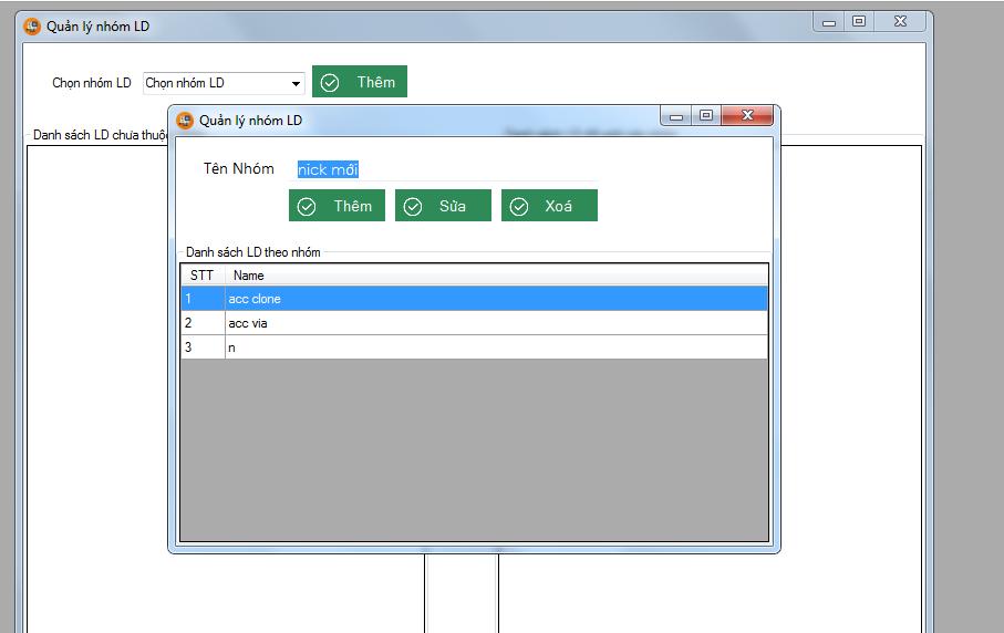 quan ly LD1 Hướng dẫn thêm và quản lý nhóm LD khi sử dụng tool nuôi nick facebook Ninja System