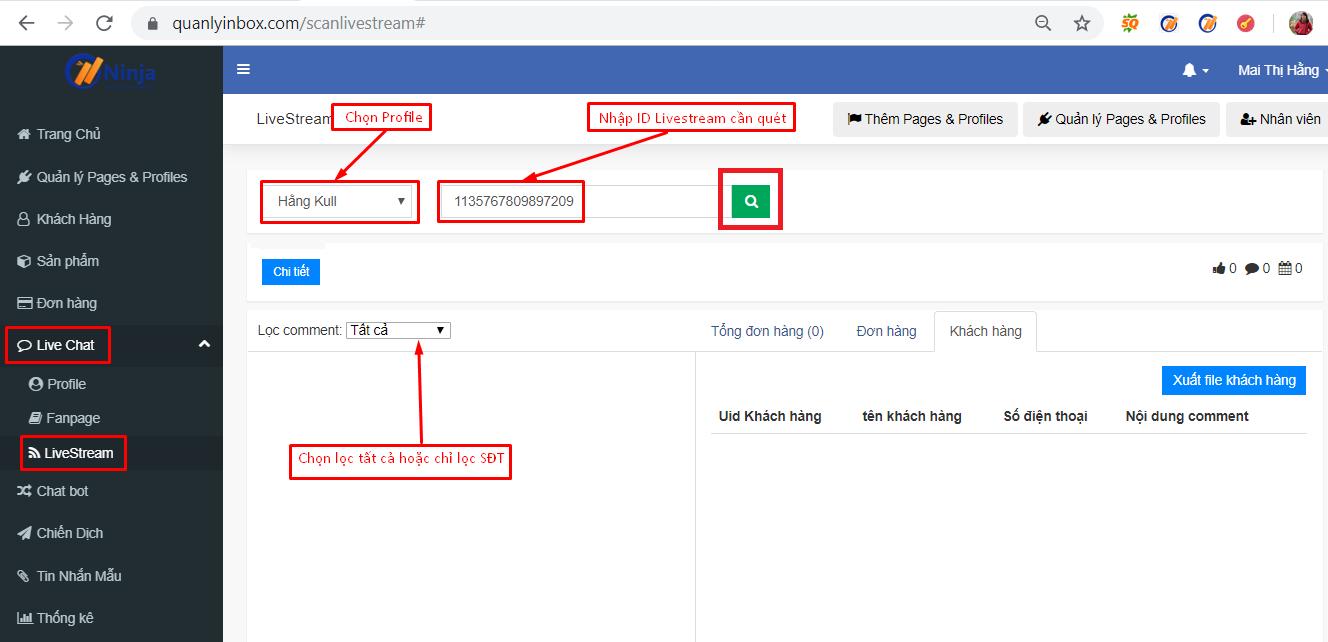 quet livestream Các bước lọc comment số điện thoại livestream bằng phần mềm gửi tin nhắn facebook Ninja Fanpage