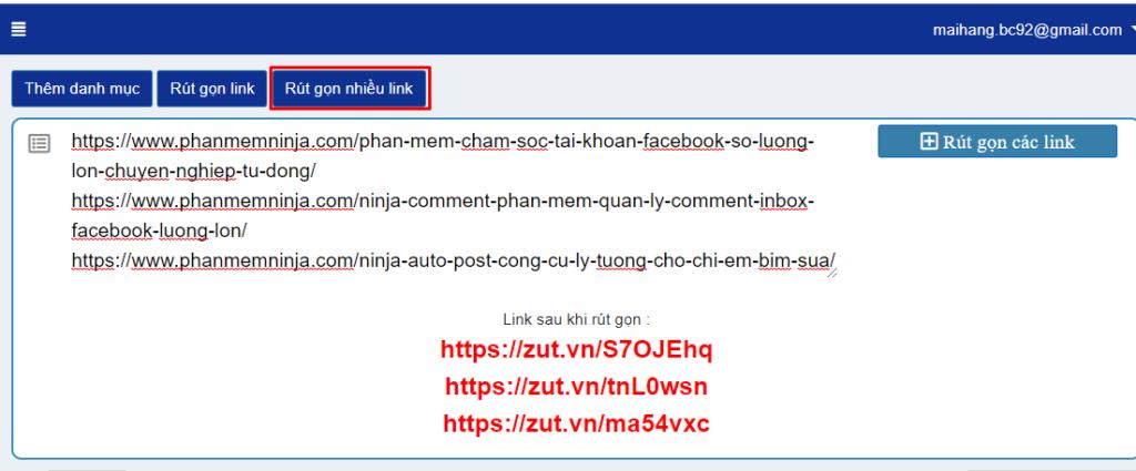 rut gon link1 1024x425 Phần mềm Ninja ra mắt web rút gọn link mới MIỄN PHÍ Zut.VN