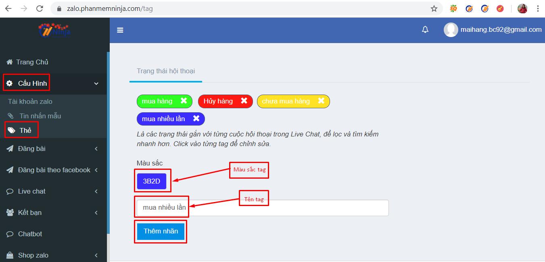 tao the tag khach hang Gắn thẻ tag phân loại khách hàng trong phần mềm quản lý tài khoản zalo Ninja Zalo