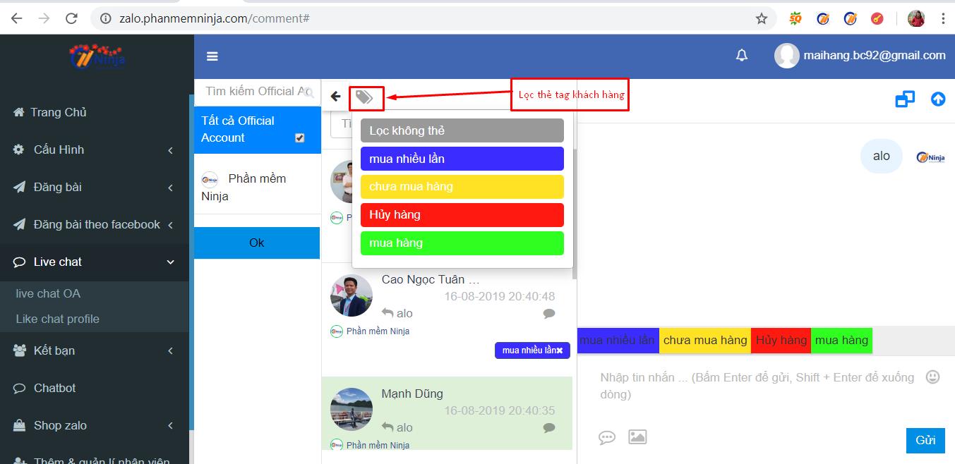 tao the tag khach hang2 Gắn thẻ tag phân loại khách hàng trong phần mềm quản lý tài khoản zalo Ninja Zalo