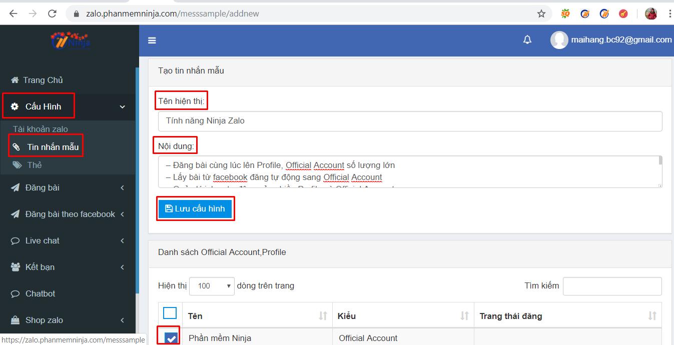 tin nhan mau Cách thêm tin nhắn mẫu trả lời tự động với phần mềm quảng cáo zalo Ninja Zalo