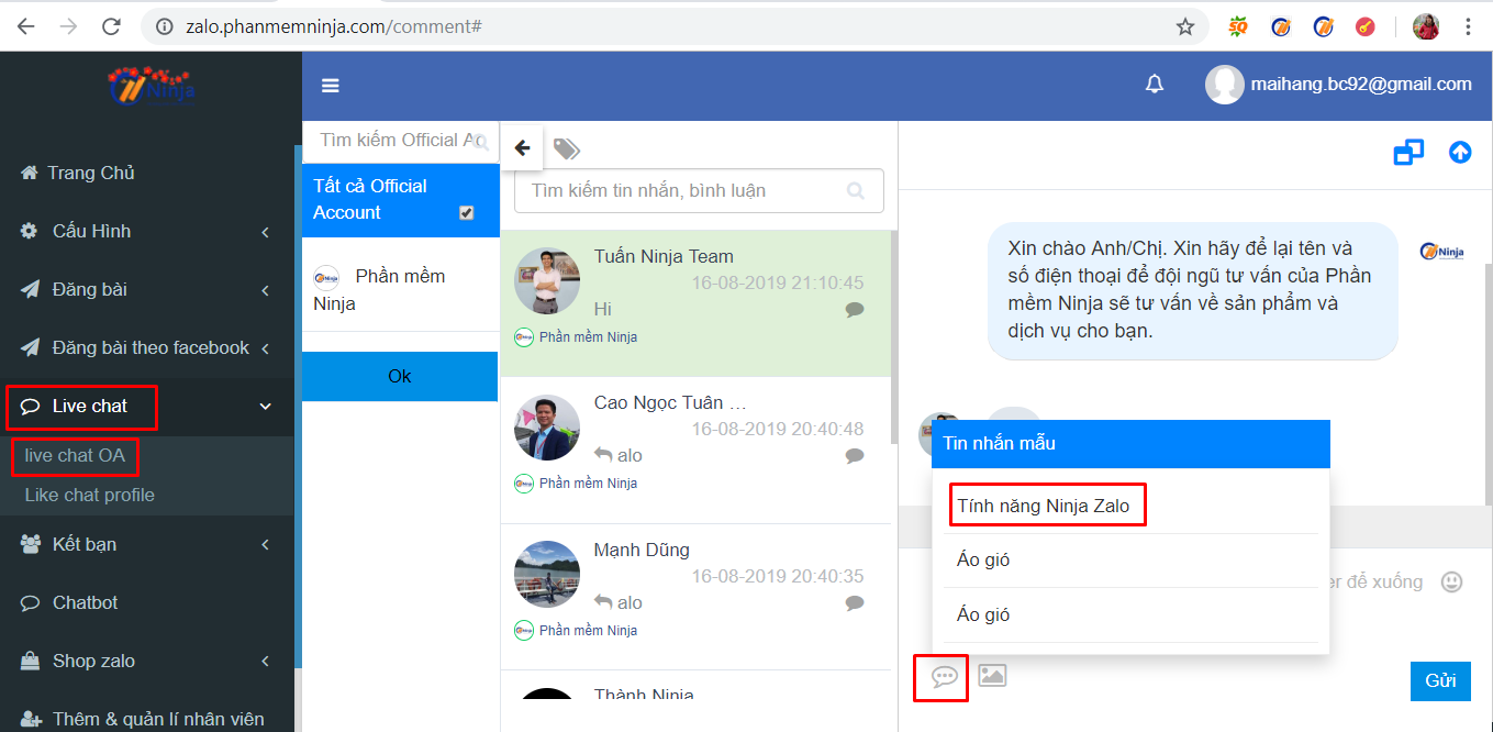 tin nhan mau1 Cách thêm tin nhắn mẫu trả lời tự động với phần mềm quảng cáo zalo Ninja Zalo
