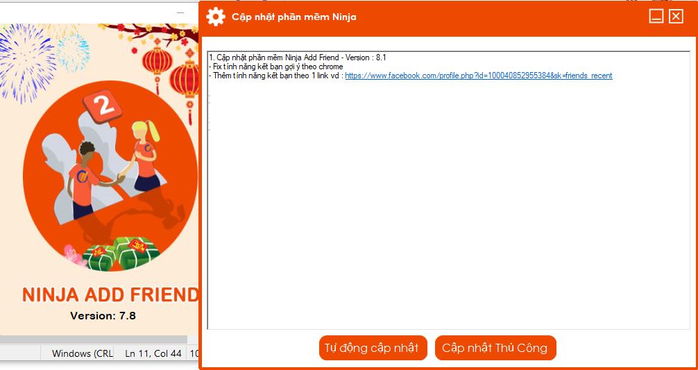 update add friend Phần mềm auto kết bạn Ninja Add Friend cập nhật version V8.1 kết bạn theo link
