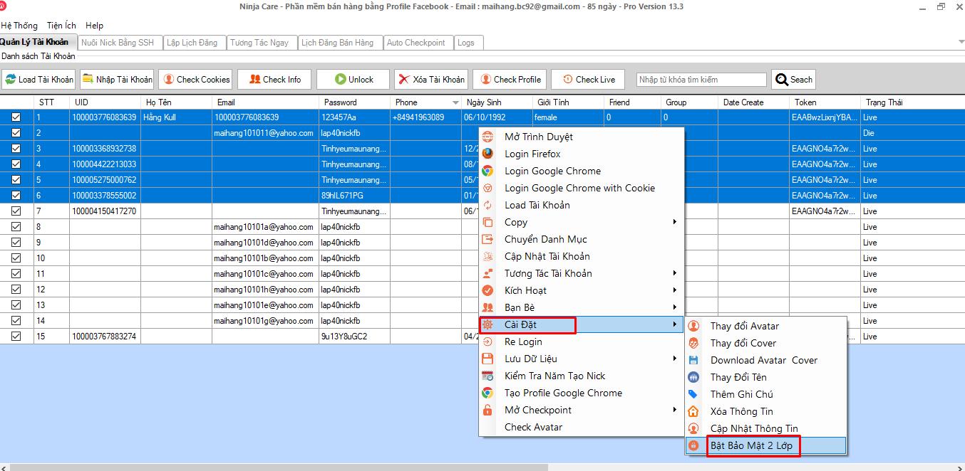 update bao mat 2lop b Phần mềm nuôi nick facebook Ninja Care update version 13.3 bật bảo mật 2 lớp