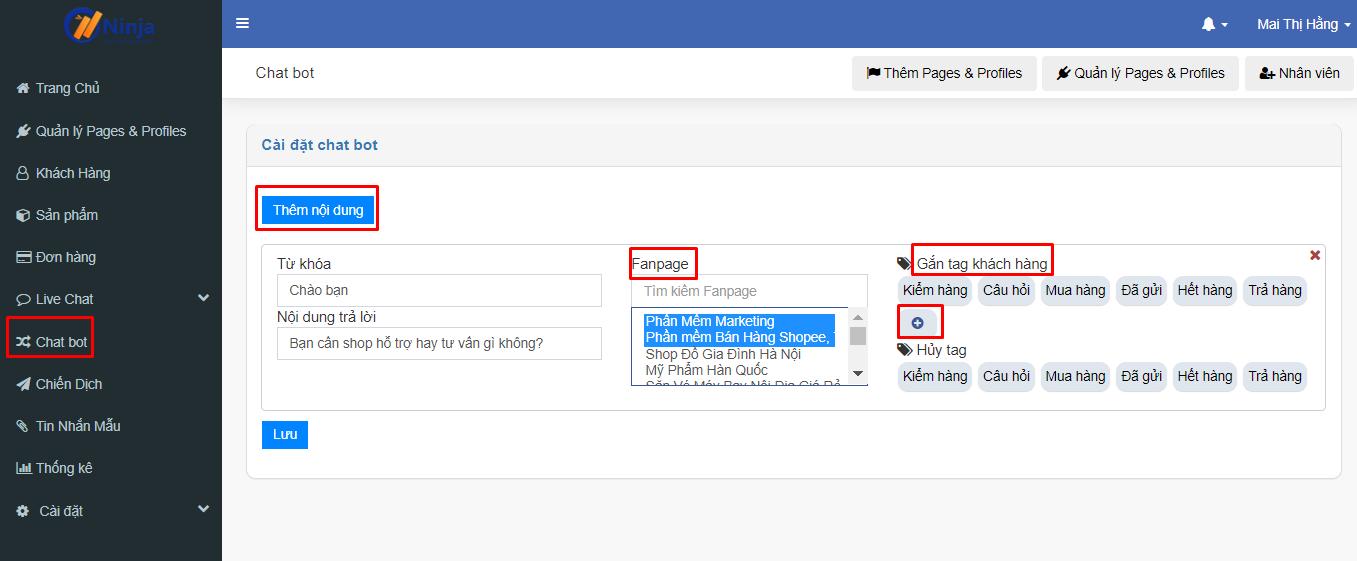 chatbot ninja fanpage1 Chatbot Fanpage hỗ trợ bán hàng đỉnh cao tạo doanh thu khổng lồ