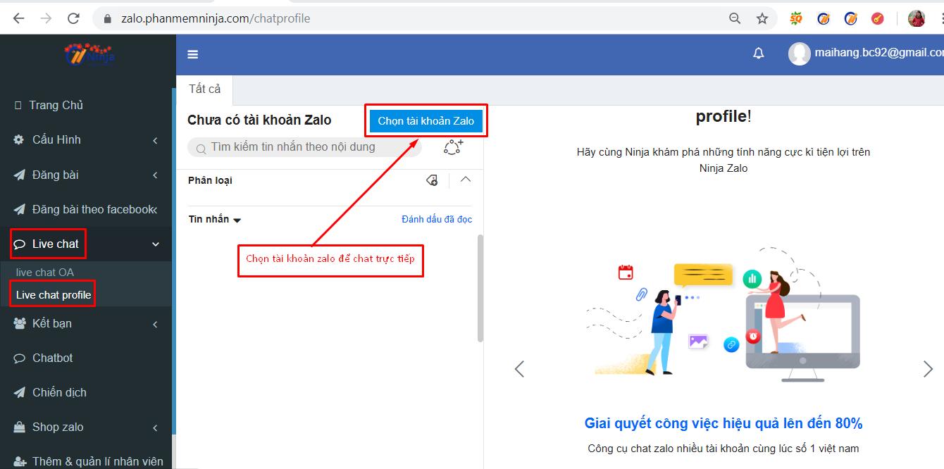 live chat zalo Hướng dẫn chat trực tiếp nhiều tài khoản zalo với phần mềm bán hàng zalo Ninja Zalo