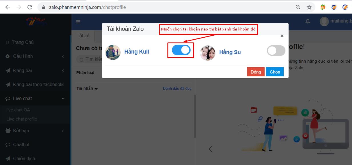live chat zalo1 Hướng dẫn chat trực tiếp nhiều tài khoản zalo với phần mềm bán hàng zalo Ninja Zalo