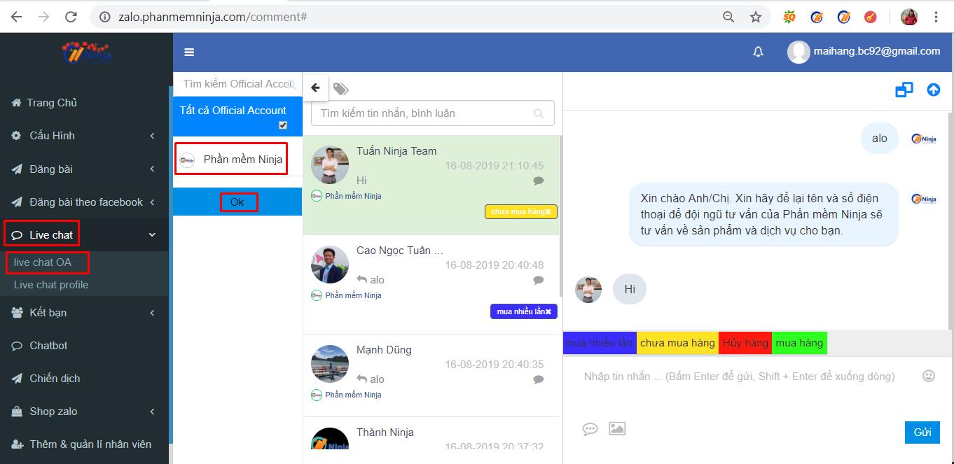 live chat zalo3 Hướng dẫn chat trực tiếp nhiều tài khoản zalo với phần mềm bán hàng zalo Ninja Zalo
