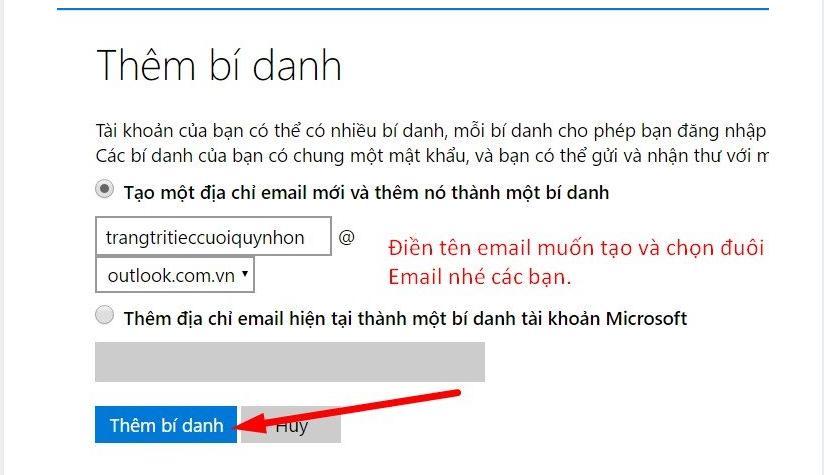 tao mail bi danh4 4 bước nhanh chóng tạo tài khoản facebook từ Outlook