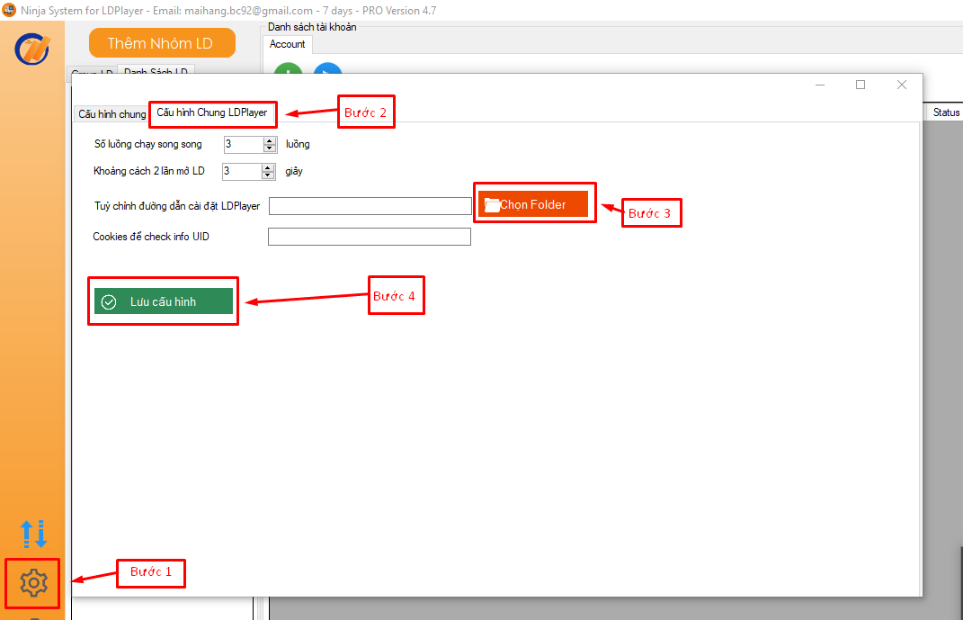 update ld 4.7a 2 Hướng dẫn tùy chỉnh đường dẫn thư mục LD khi sử dụng tool nuôi nick Ninja System