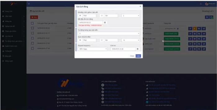 lich dan bai 8 Các bước lập lịch đăng bài Facebook với Ninja Auto Post