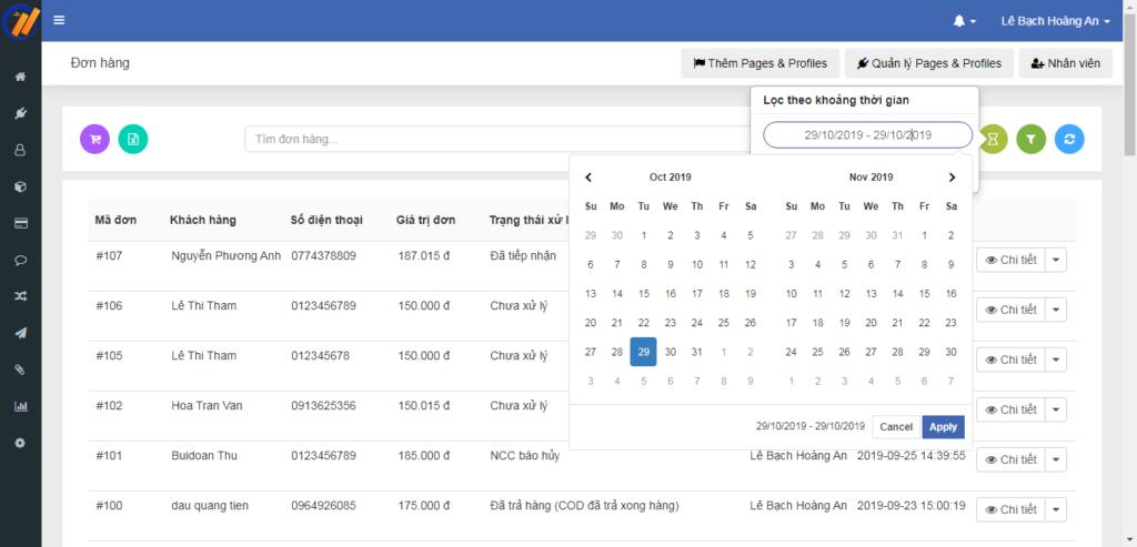 loc don hang theo thoi gian 1024x493 Quản lý đơn hàng hiệu quả với các tính năng mới của Ninja Fanpage