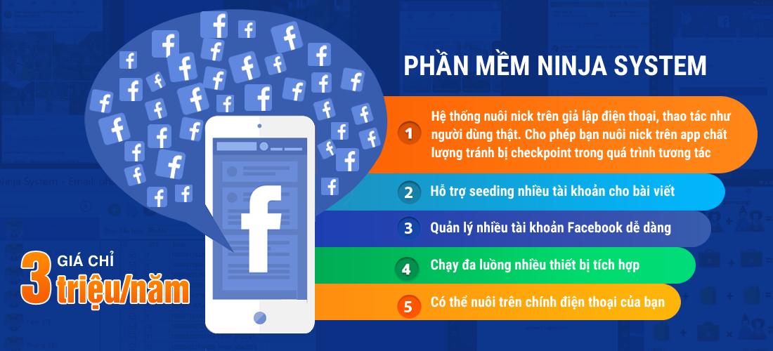 ninjasystem 1 Tự động nuôi nick Facebook số lượng lớn