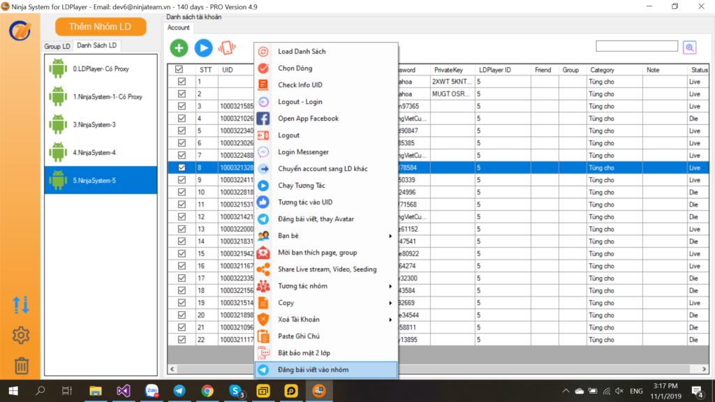 ĐĂNG NHẬP 1024x576 Hướng dẫn chạy tương tác nuôi nick trên messenger facebook ở Ninja System version 5.2