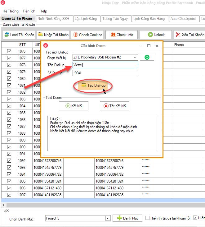 4 2 Hướng dẫn cài đặt USB 3G (D com) vào phần mềm Ninja Care