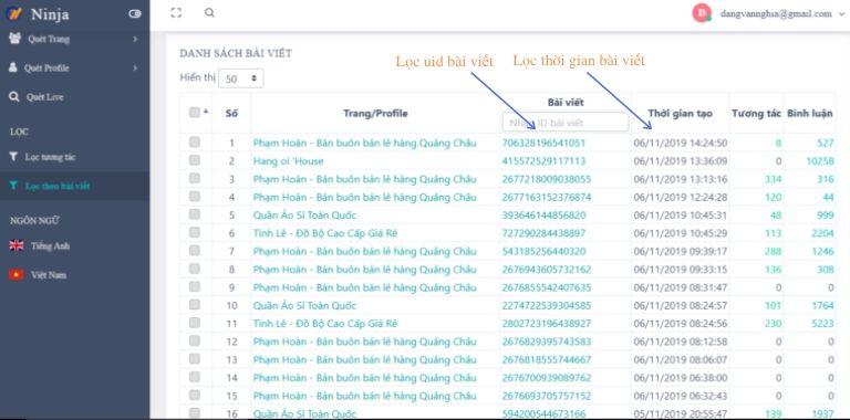 Lọc thời gian bài viết Tiếp cận khách hàng tiềm năng dễ dàng bằng tính năng của Ninja UID Pro