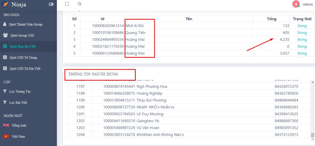 ban be tu UID 1024x476 Phần mềm Ninja UID Pro cập nhật thêm tính năng mới
