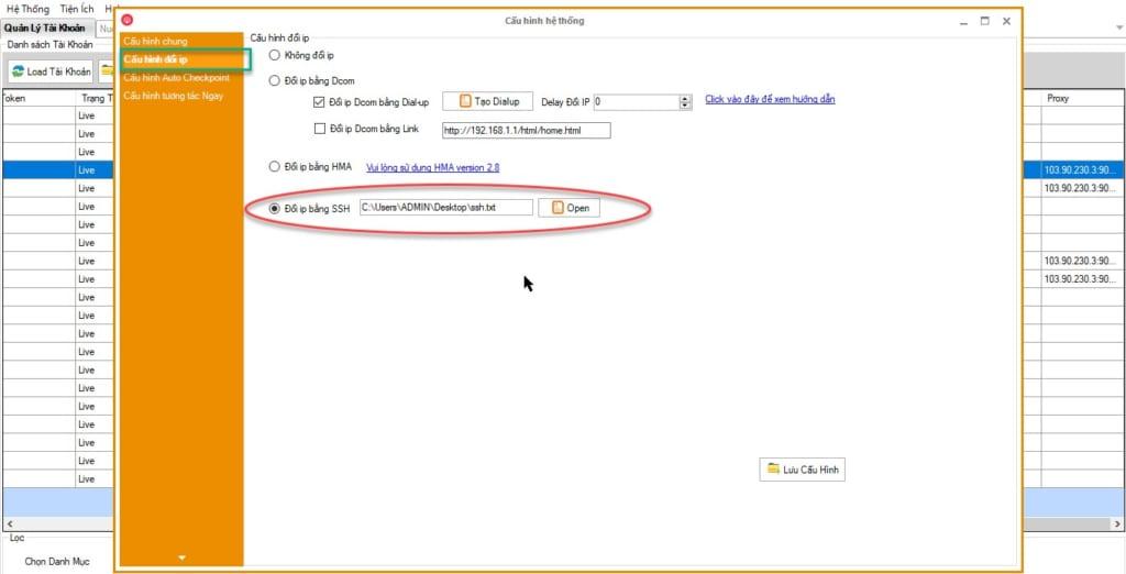 doi ip ssh 1024x522 Hướng dẫn Nuôi tài khoản Facebook bằng SSH trong Phần mềm Ninja Care
