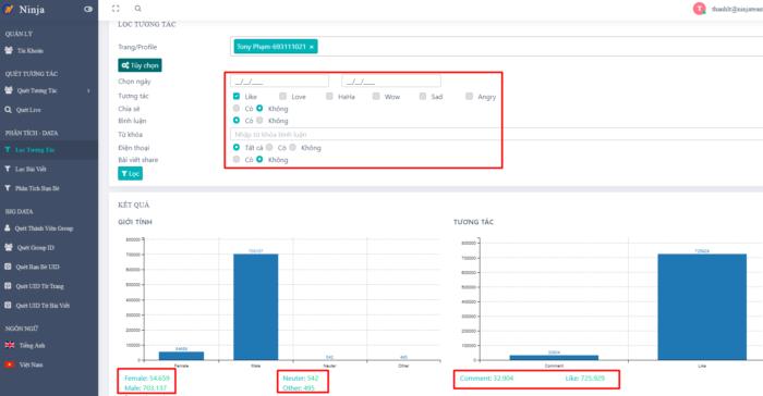 phan mem ninja uid pro 2 e1615261062876 Phần mềm UID Pro phân tích khách hàng tiềm năng hiệu quả
