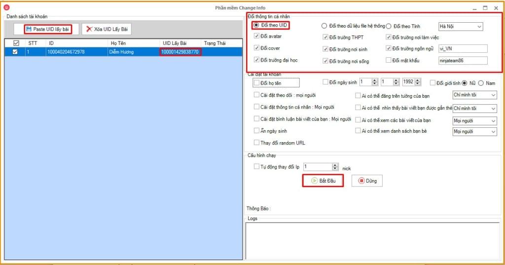 thay doi tai khoan2 1024x537 Hướng dẫn thay đổi thông tin Tài khoản Facebook theo UID bất kỳ