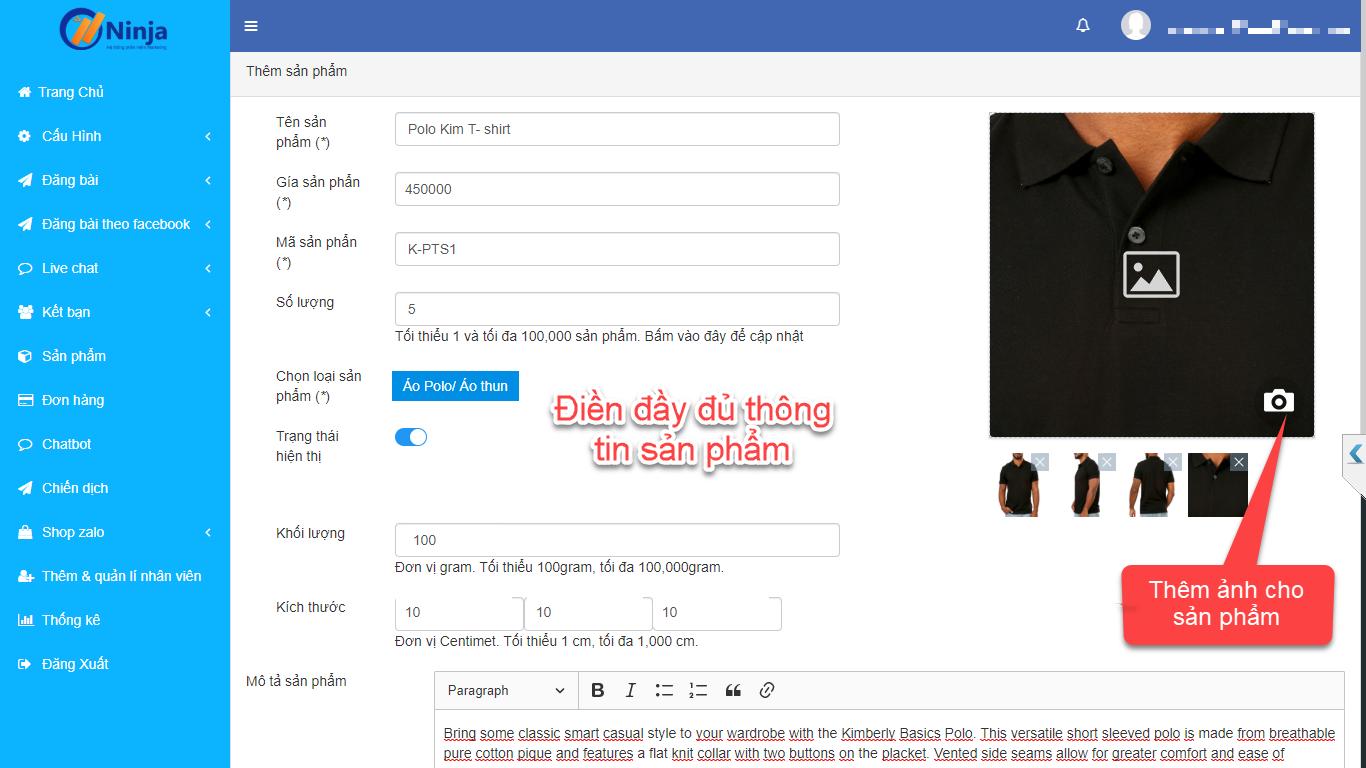 3 4 Hướng dẫn đăng sản phẩm lên shop Ninja Zalo