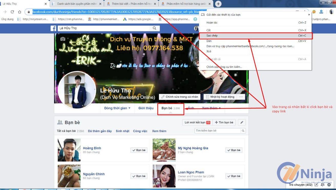 5 3 Tự động kết bạn theo link và tên   hướng dẫn Ninja Add Friend