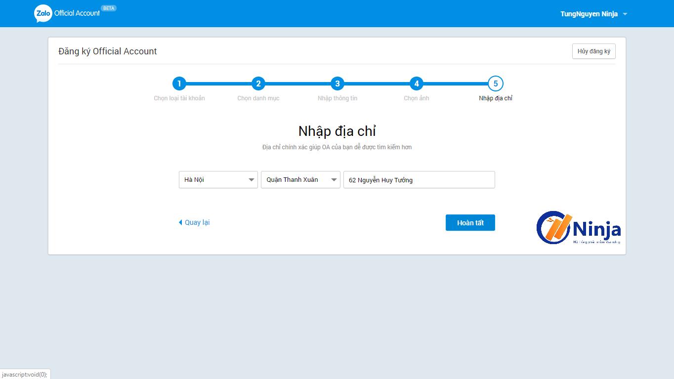 6 Hướng dẫn tạo và kết nối Official Account với Ninja Zalo