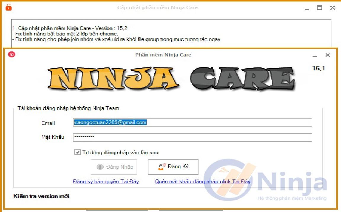 Ninja Care 15.2 1 Hướng dẫn tương tác tài khoản facebook trên phần mềm Ninja Care 15.2