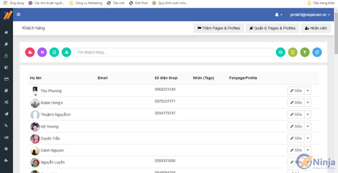 2 11 Quản lý khách hàng, sản phẩm bằng phần mềm Ninja Fanpage
