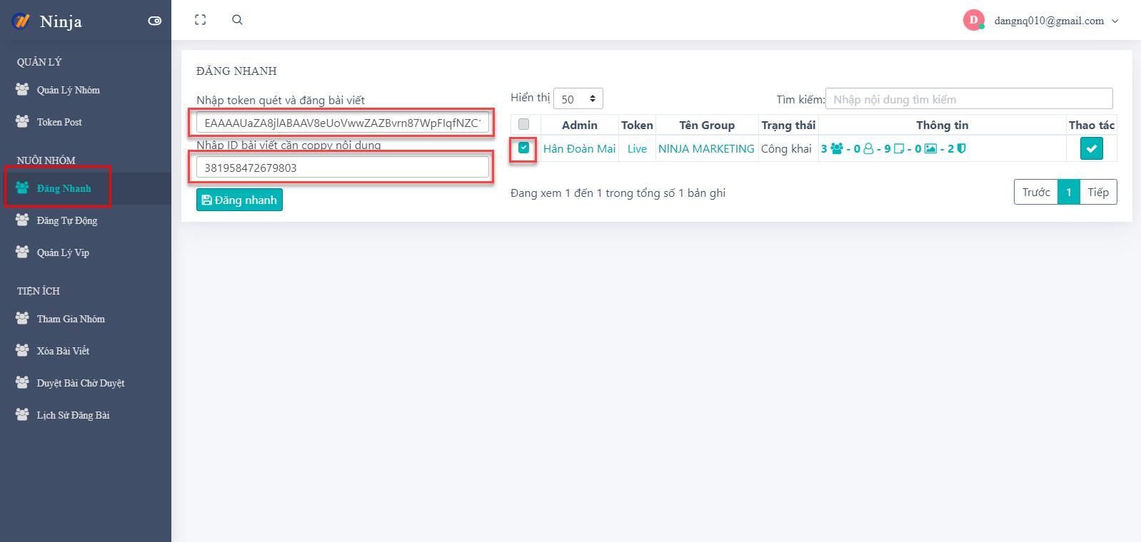 đăng nhanh Hướng dẫn đăng nhanh bài viết dễ dàng trên phần mềm Ninja Group