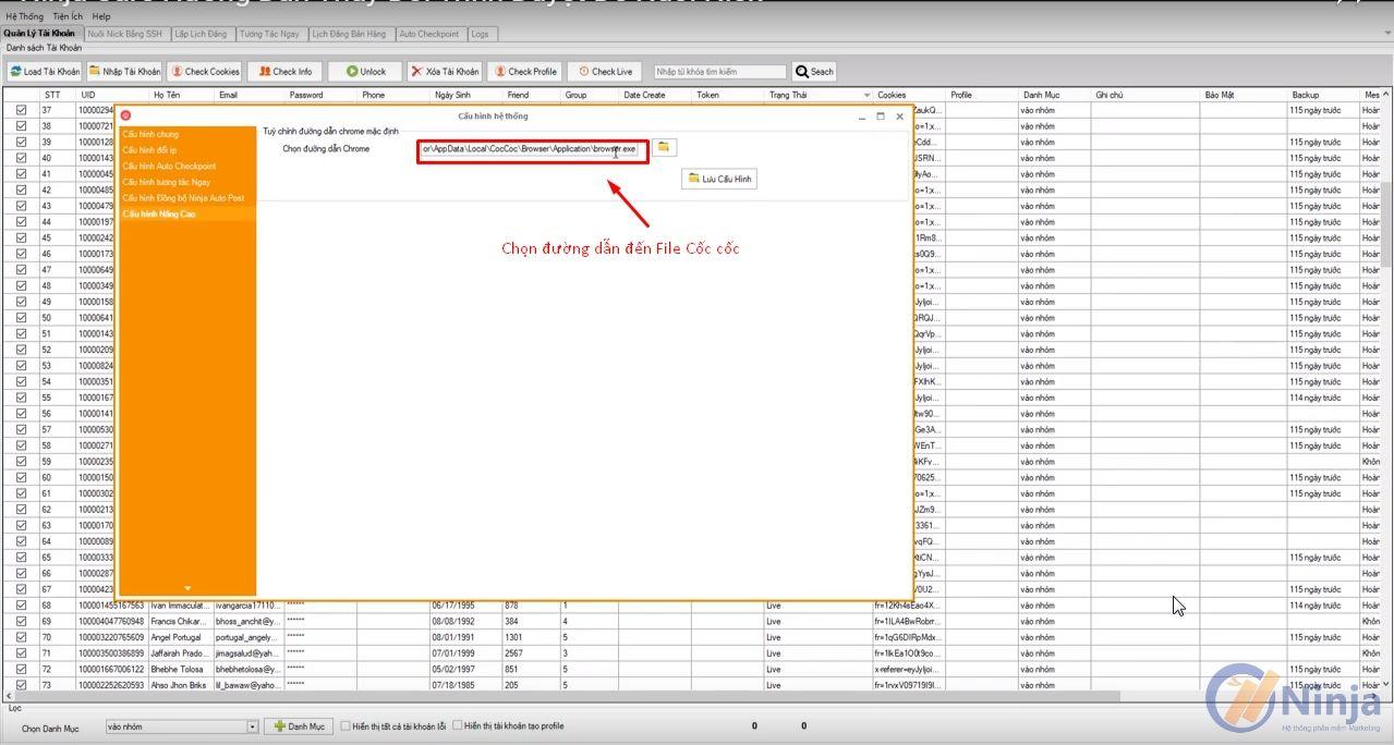 4 1 Hướng dẫn thay đổi trình duyệt nuôi nick trên phần mềm Ninja Care