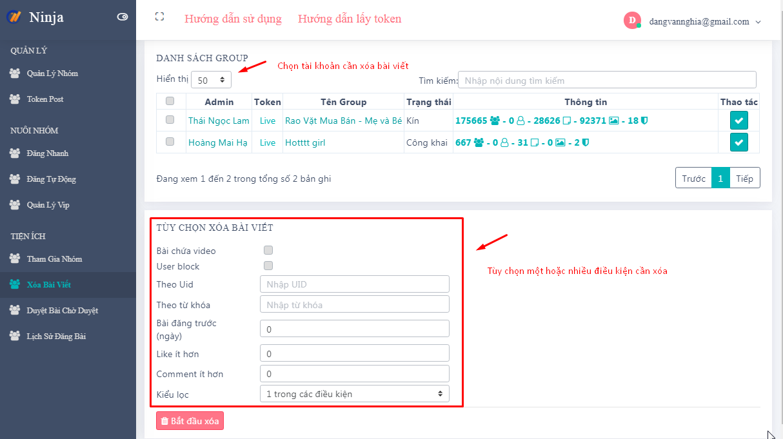 Screenshot 9 Hướng dẫn sử dụng tiện ích nhóm ở phần mềm quản lý group facebook