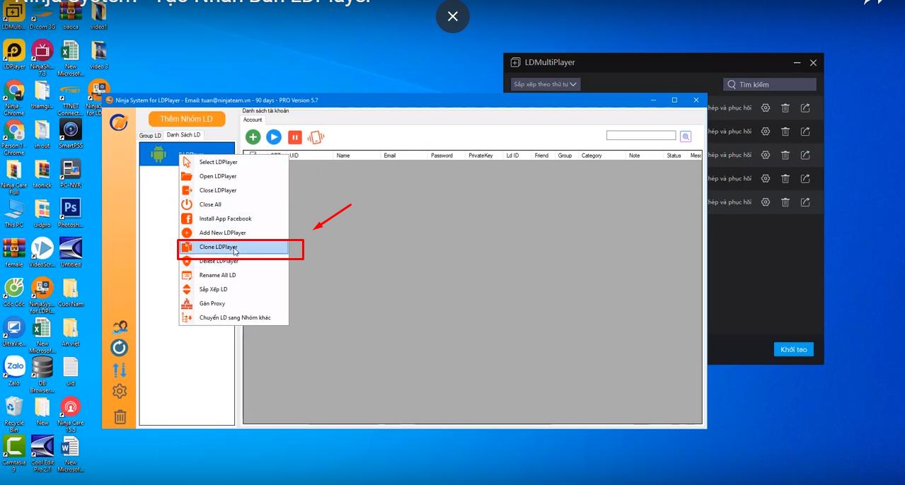 b2 Hướng dẫn tạo nhân bản LD Player trình giả lập Adroid trên phần mềm Ninja System