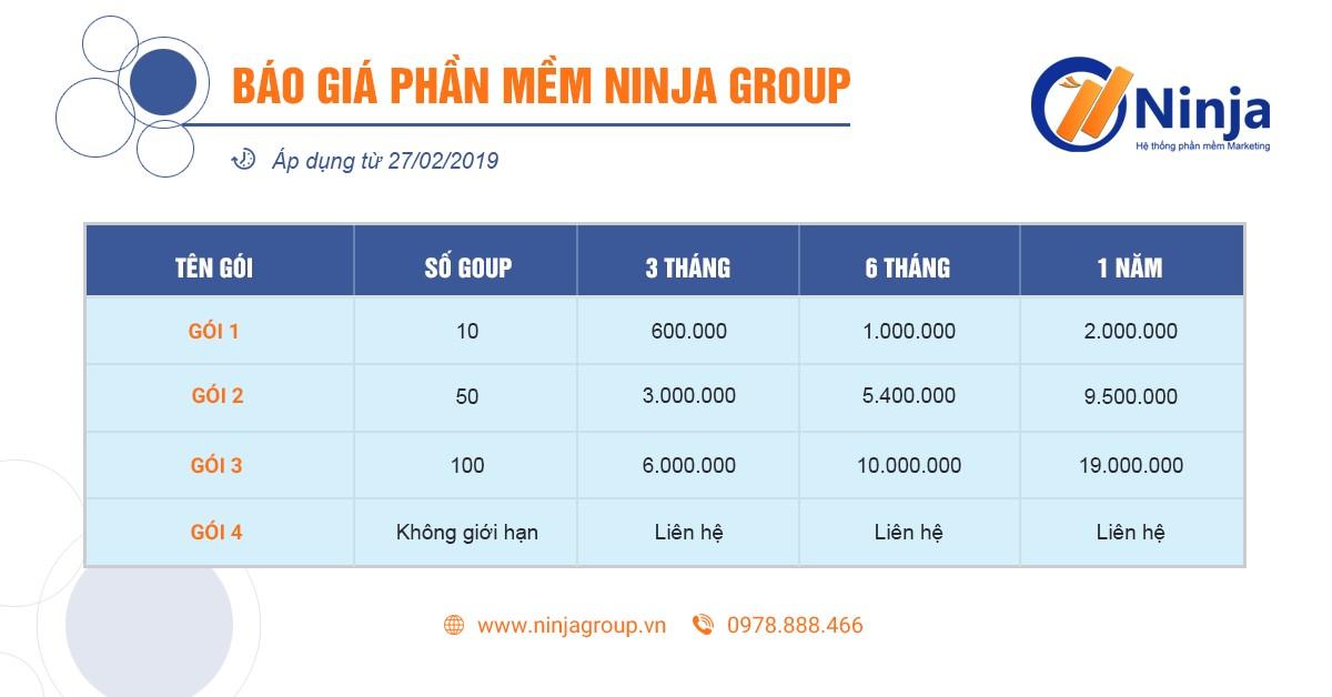 bang bao gia Đào tạo nội bộ tháng 2.2020   Phần mềm quản lý nhóm facebook Ninja Group