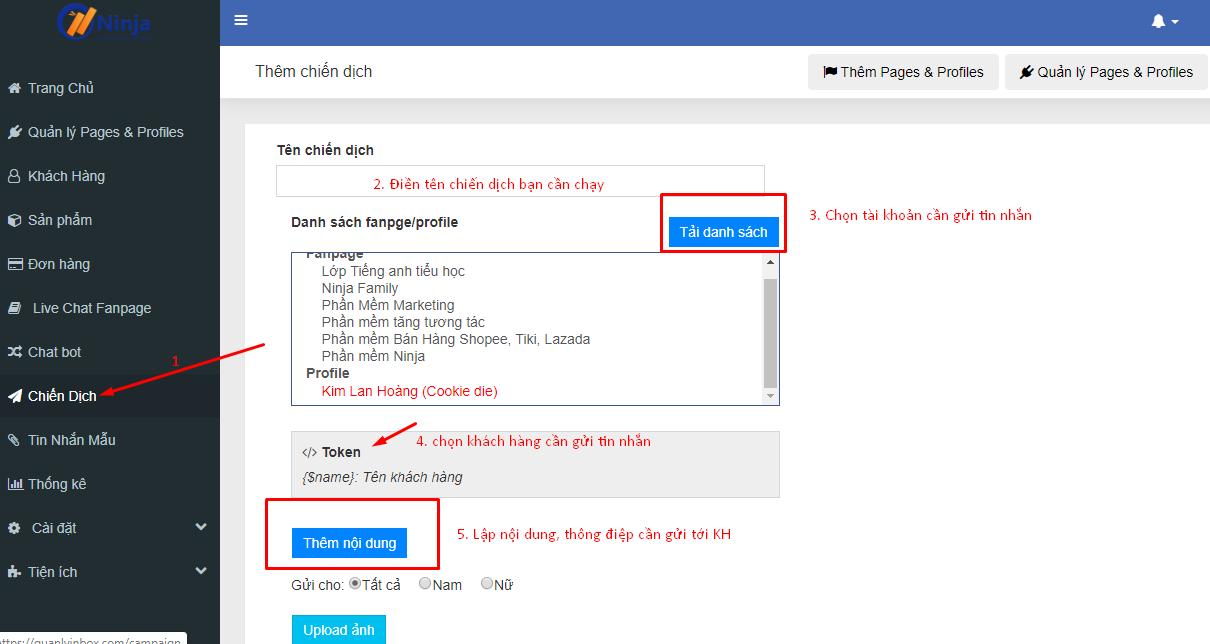 chien dich gui tin nhan hang loat Gửi tin nhắn facebook tự động nhanh chóng với Ninja Fanpage