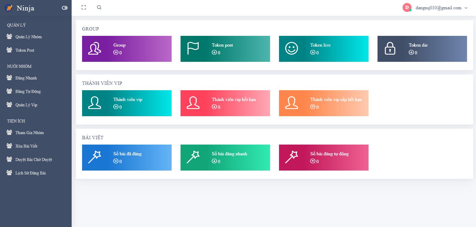 giao diện chính Ninja Group   Phần mềm quản lý group tự động chuyên nghiệp