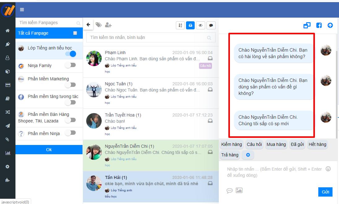 gui tin nhan hang loat 2 Gửi tin nhắn facebook tự động nhanh chóng với Ninja Fanpage