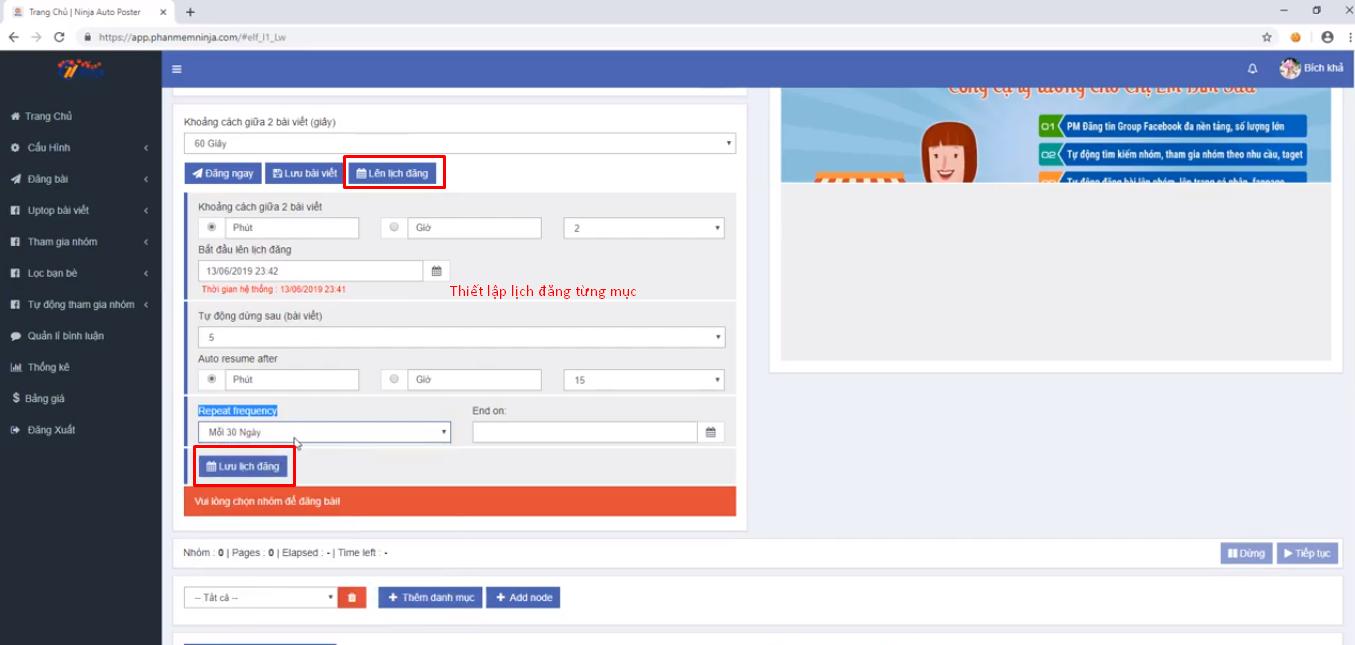 lap lich dang bang ninja auto post2 Ninja Auto Post – những đối tượng phù hợp sử dụng phần mềm
