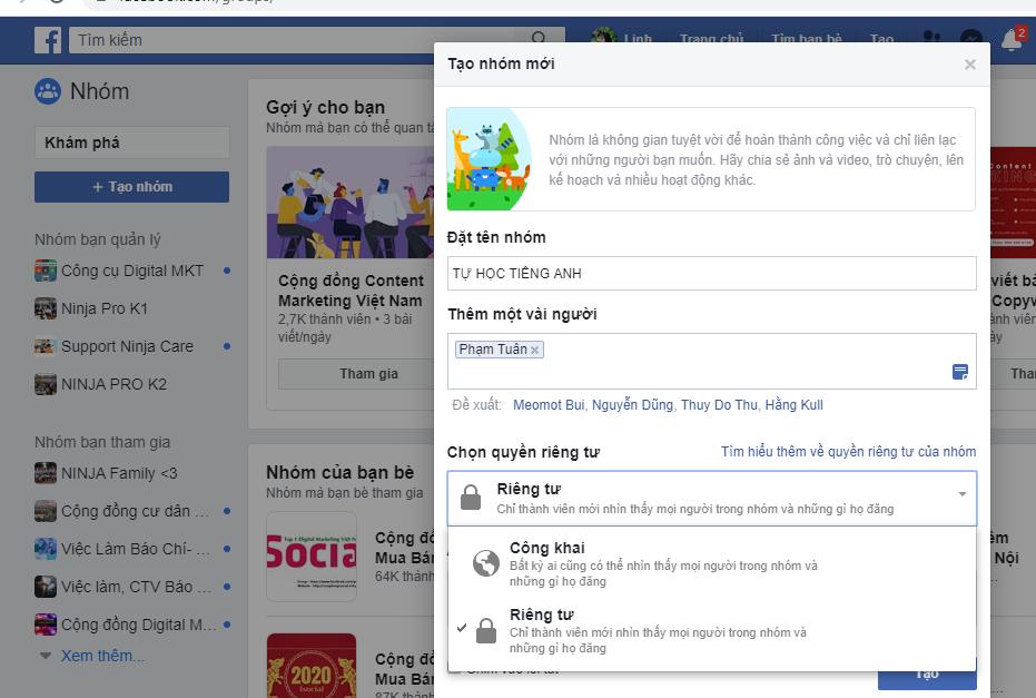 tao nhom facebook 4 Hướng dẫn cách tạo nhóm facebook nhanh chóng