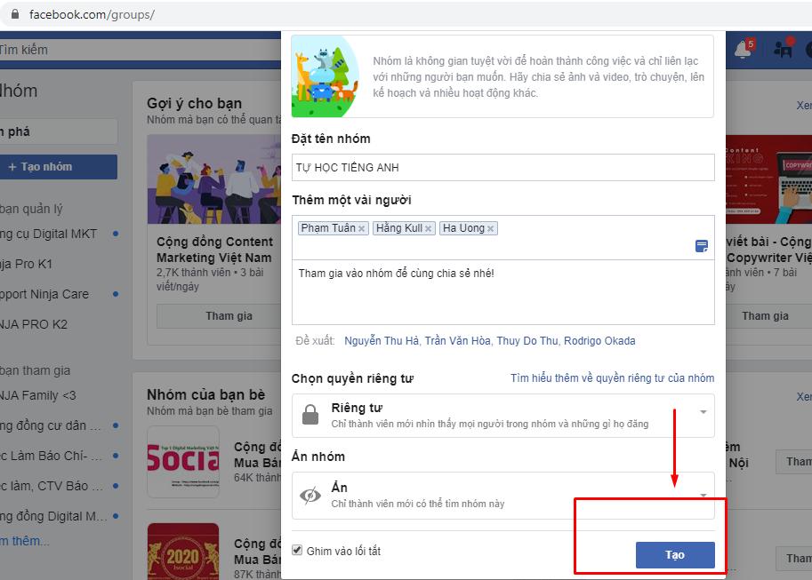 tao nhom facebook 6 Hướng dẫn cách tạo nhóm facebook nhanh chóng