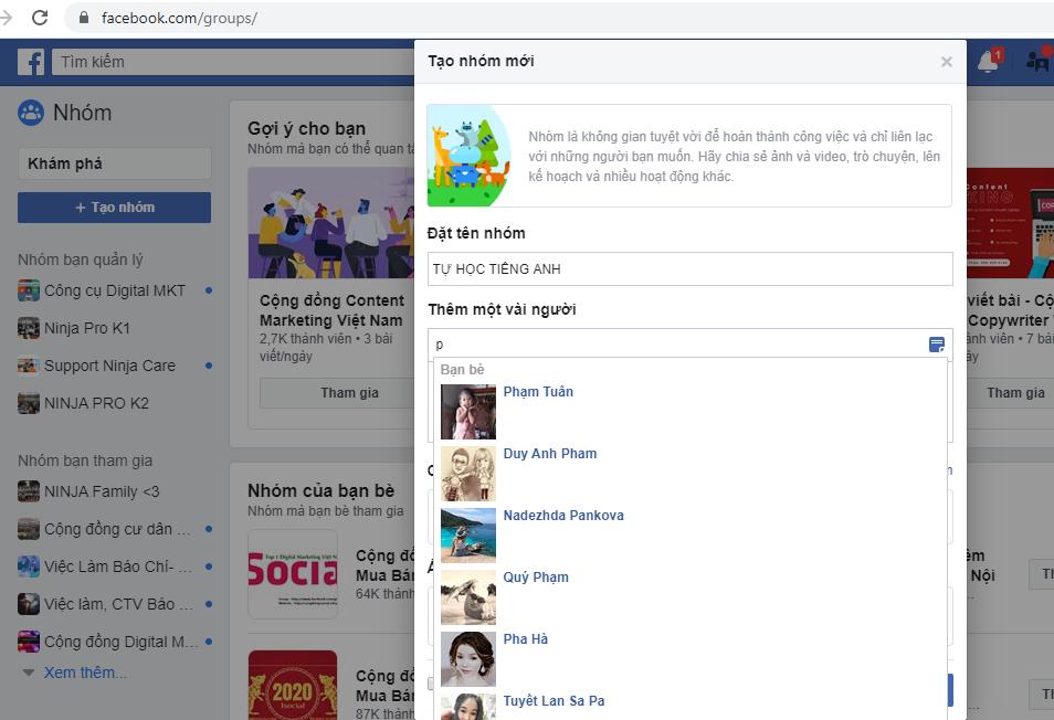 tao nhom facebook3 Hướng dẫn cách tạo nhóm facebook nhanh chóng