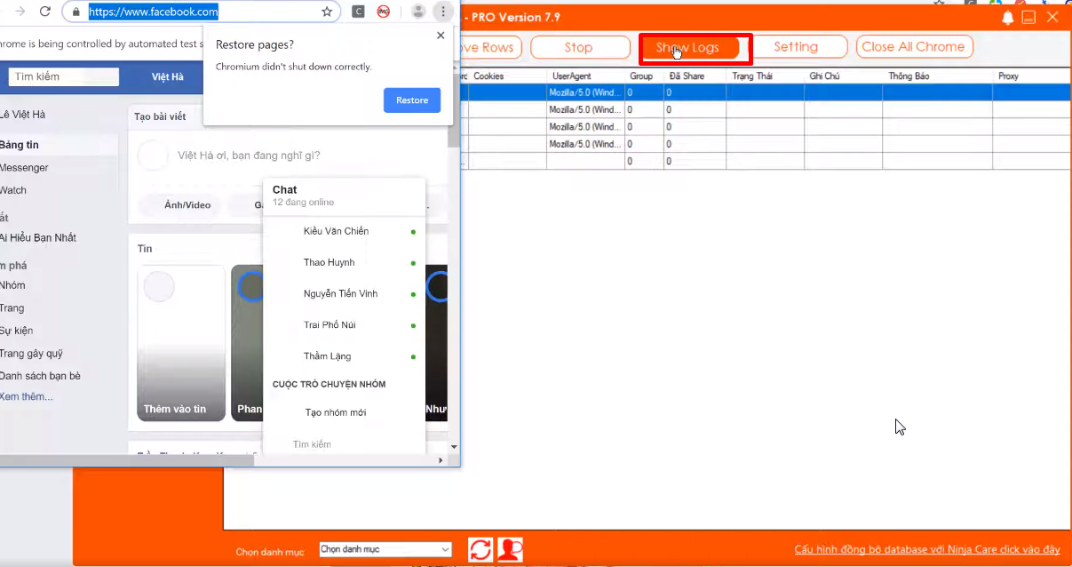 5 ls Hướng dẫn sử dụng phần mềm Ninja Share Livestream phiên bản 7.9