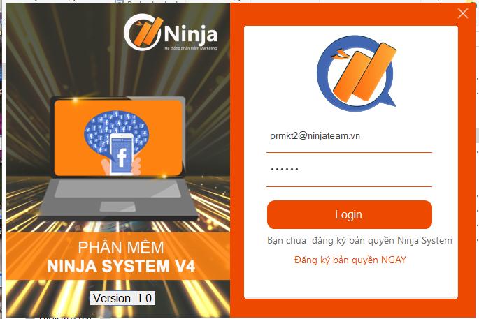 login ninja systemv4 3 Hướng dẫn đăng bài Facebook nhanh chóng với phần mềm quản lý nhiều nick