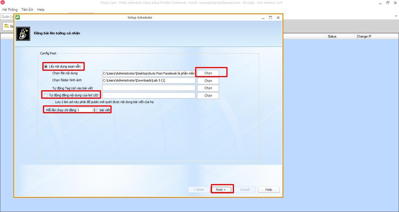 phan mem nuoi nick facebook 1 1 6 thao tác lập lịch đăng tin bằng phần mềm nuôi nick facebook 15.9
